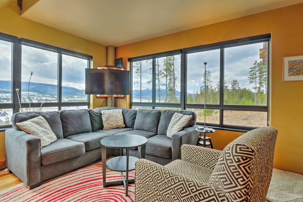 Take in the incredible mountain views from the 1,100-square-foot interior!