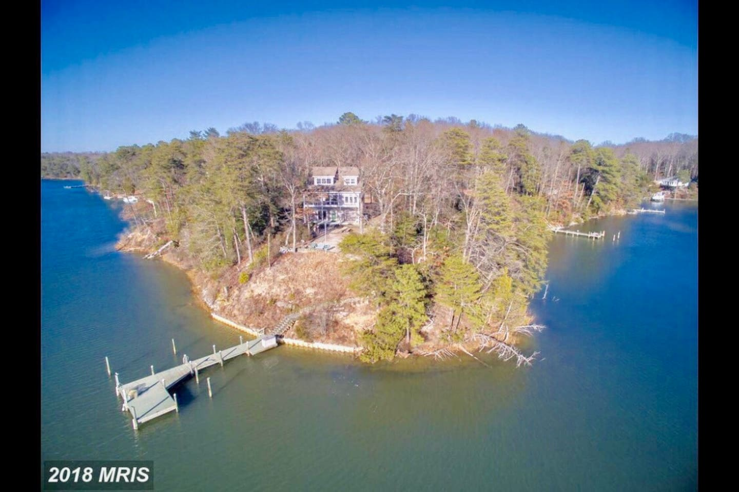 Secluded Waterfront property sits on top of a point with fantastic view of Rappahannock River.