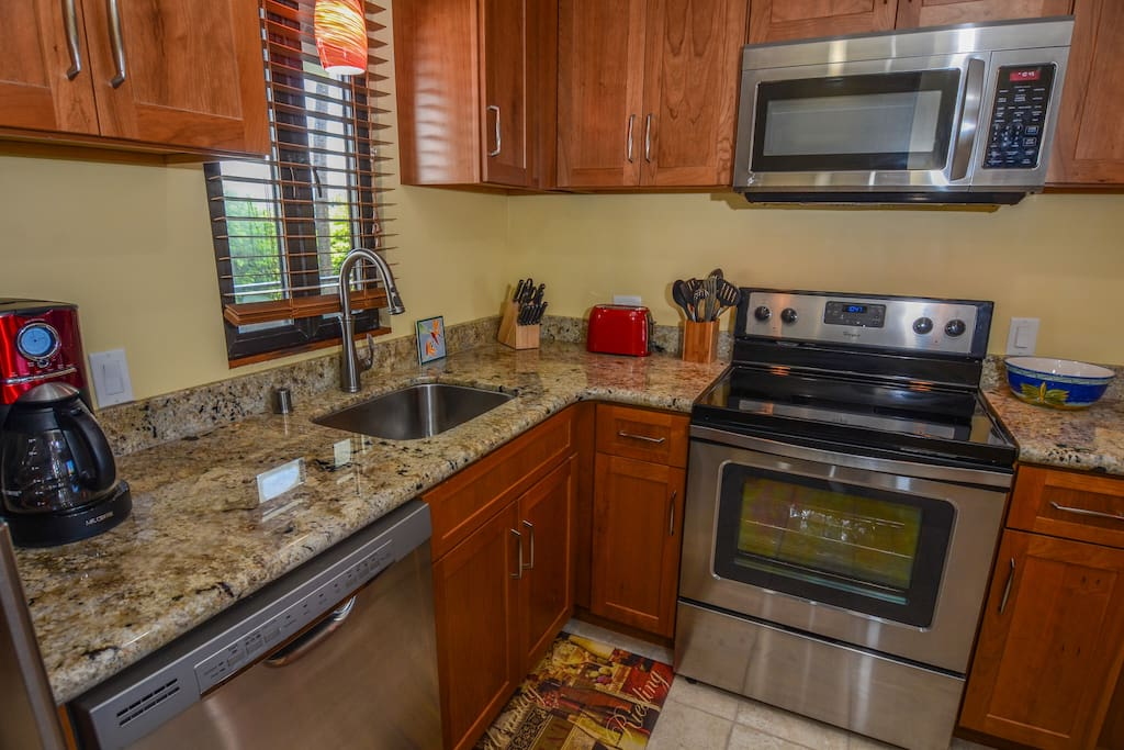 Completely remodeled kitchen with new stainless steel  appliances.