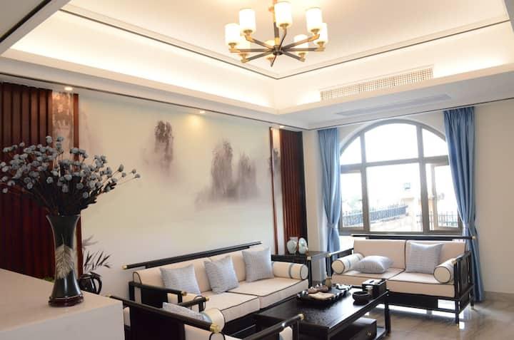 中式日落海景超大厅轰趴唱K四房三厅独栋别墅