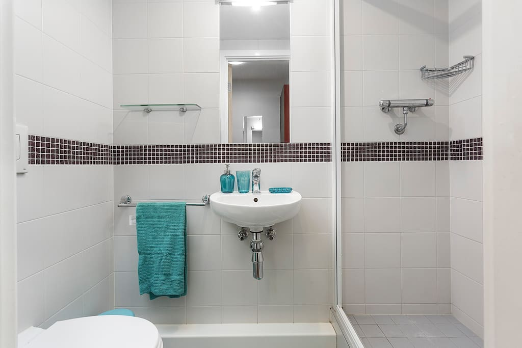 Bathroom with Shower and Wash Basin
