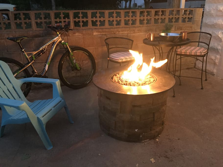 Private patio with fire pit