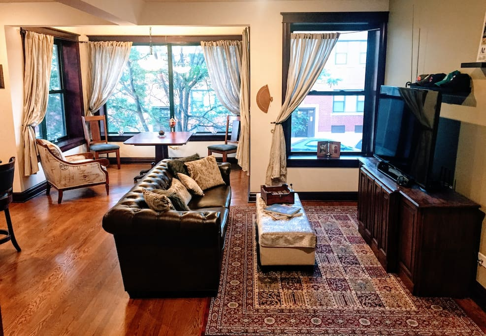 Living Room. 60 in. Samsung smart TV (Netflix/MLB.tv/Pandora, etc. are all logged in for you to enjoy)!