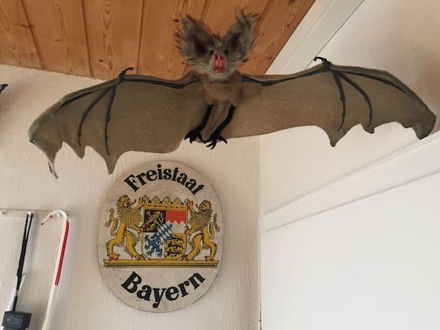 The bat, our mascot; the real ones are in the garden, but dont bite guests! /  Unser Maskottchen, die Fledermaus, welche auch im Garten lebt