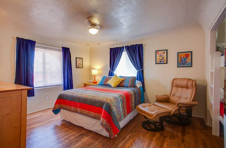 Large bedroom with brand new and super comfy queen bed!