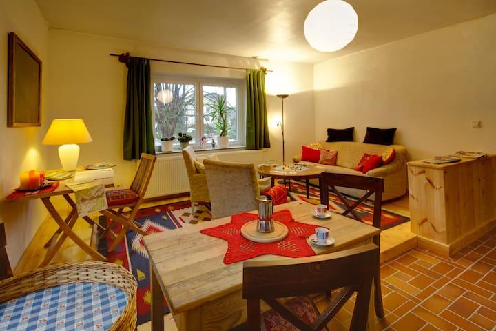 Im großen, gemütlichen Wohnzimmer mit Holzfußboden steht auch ein Ausziehsofa, das zusätzlichen Schlafplatz bietet.