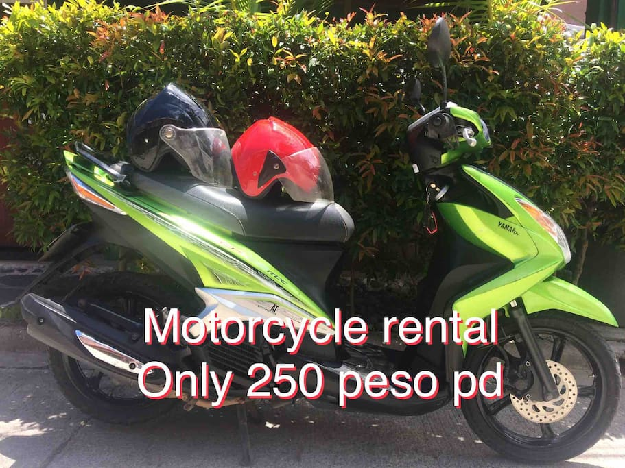 Serviced with all government requirements. Yamaha 125 automatic motorcycle: rent for only 250 per day. explore cebu city and mactan island with ease.  if a short stay and want to use motorcycle to go local for dinner etc, then it is free use.