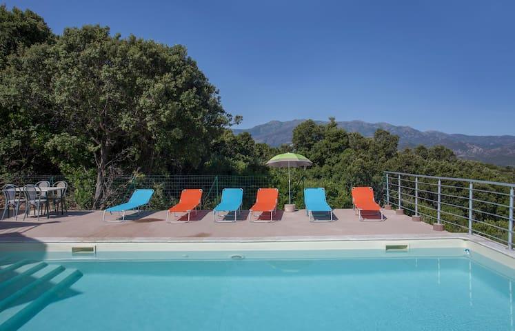 Villa St-Florent, vue panoramique, montagne, mer