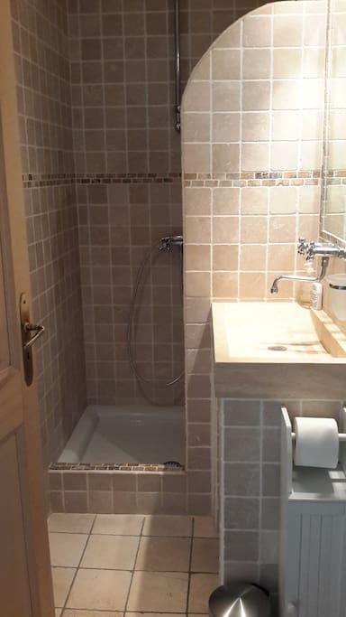 Salle d'eau avec toilette