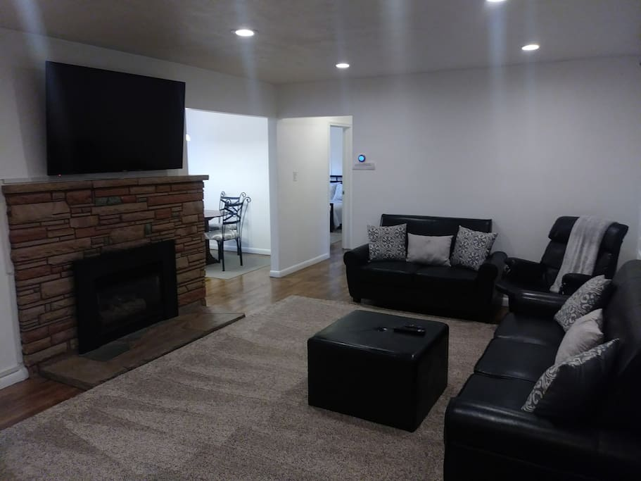 Comftorable living area with 60 inch tv
