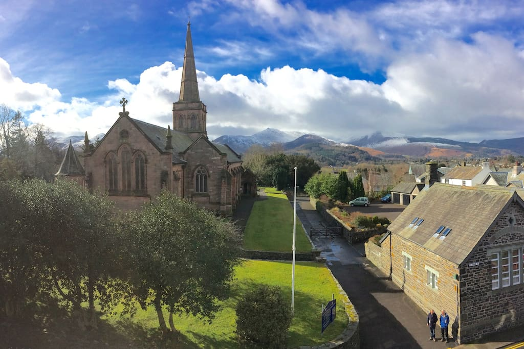 The view from the front of the house towards St John's Church and the Newlands Hills.