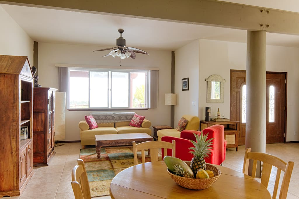 Comfortable and spacious living room and dining room to relax after a day filled with adventures