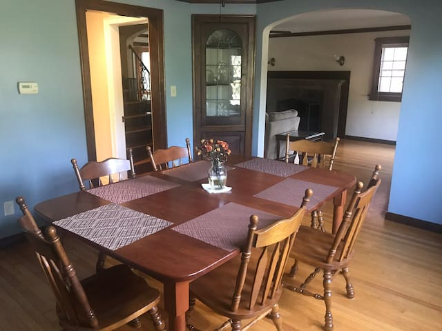 Dining room table, one of many spaces available for the guests to work and eat at!