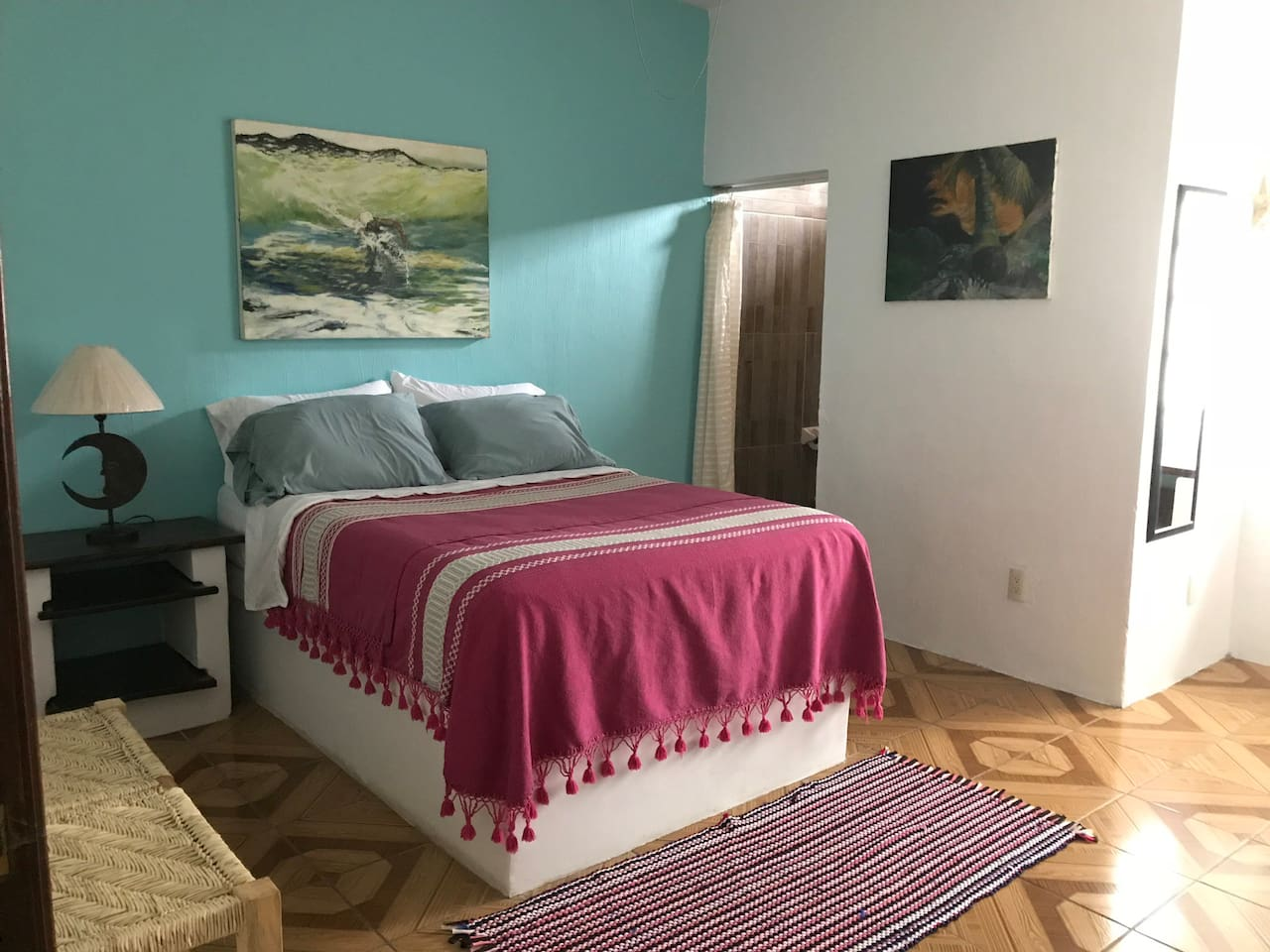 Private bedroom with dresser/ place to hang your clothes. Area for laptop