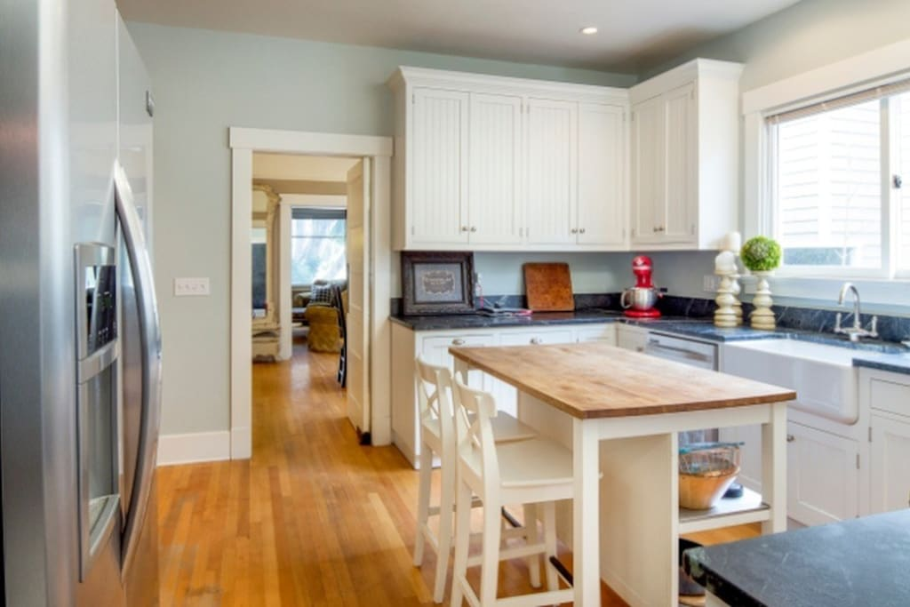 Gourmet Kitchen with Italian stove/oven, ample serving pieces and walk-in pantry