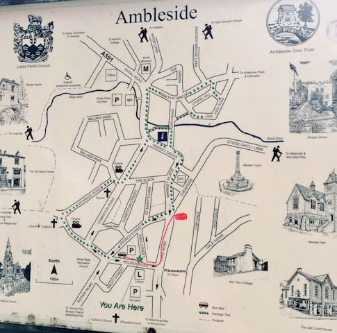 Very short walk from Ambleside main bus station to my home. Very easy to find