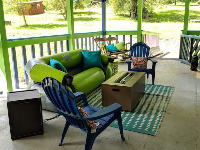 Lounge area of Lodge deck with propane fire table