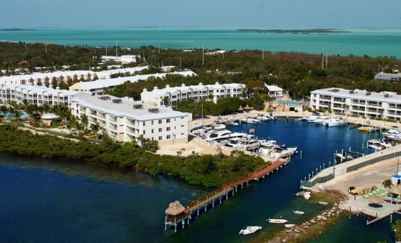 Aerial View Of Oceanfront Resort and Marina
