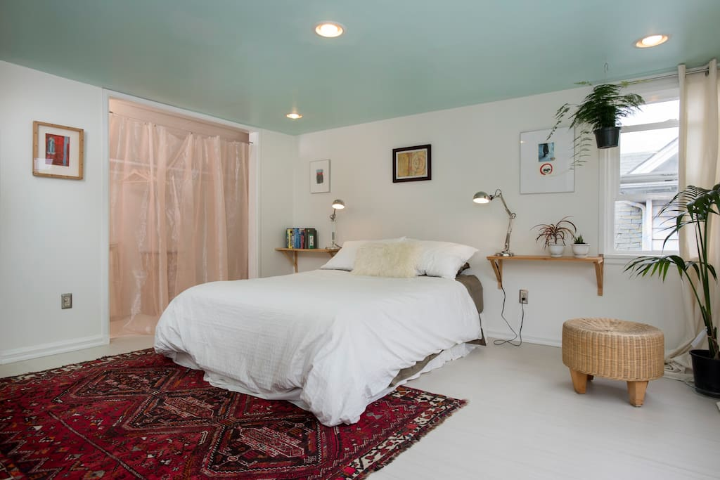 master bedroom with very cozy bed and everything you need for dreamy sleep