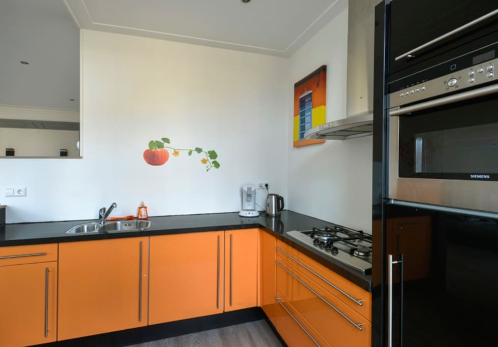 Complete kitchen. With big fridge, oven and microwave.