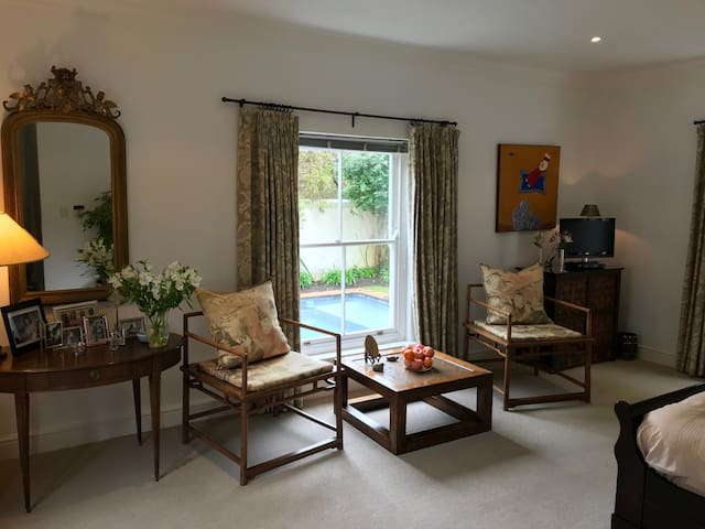 On the ground floor you will find a large, comfortable double bedroom with King Size bed and ensuite bathroom. New, high quality linens.