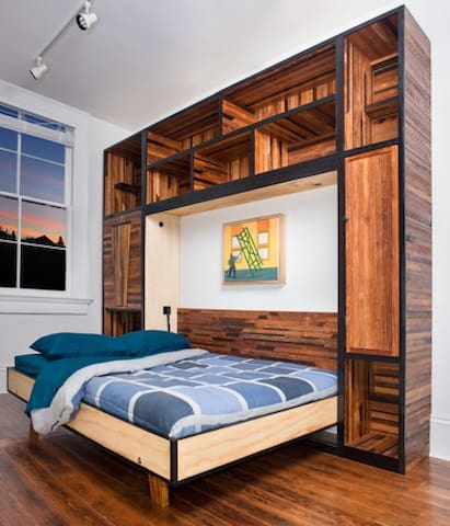 Murphy bed built from history lath boards
