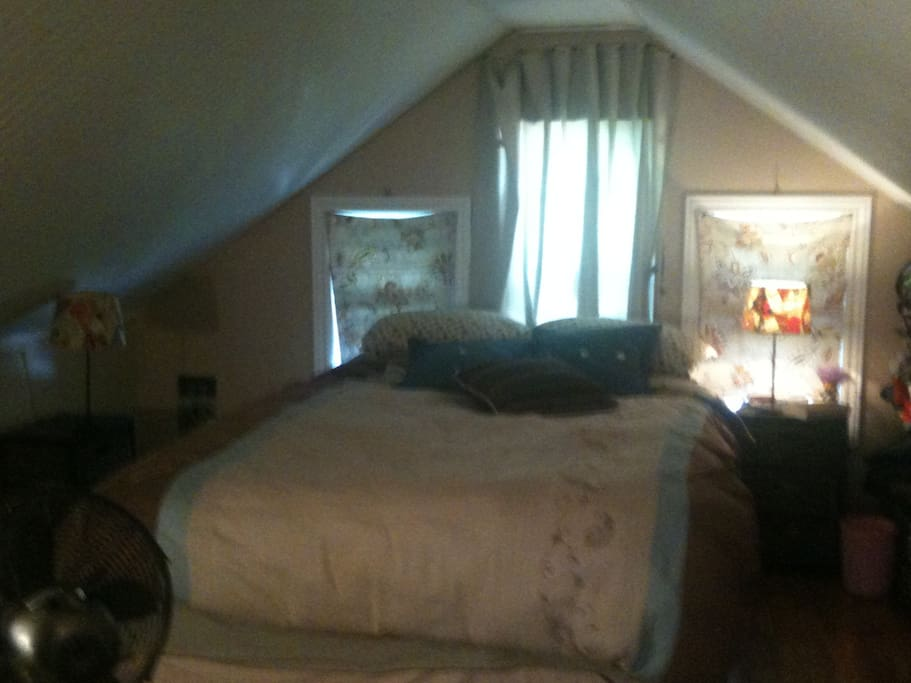 Two  bedrooms in large attic space.
