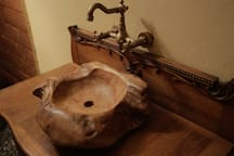 Driftwood sink in the bathroom