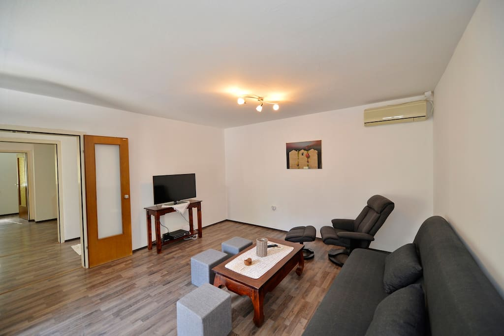 Living room with TV, Internet, Pull out Queen size couch