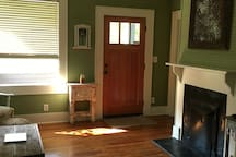 Enjoy the vintage feel with original hardwoods, 10 foot ceilings, and wall/ceiling beadboard