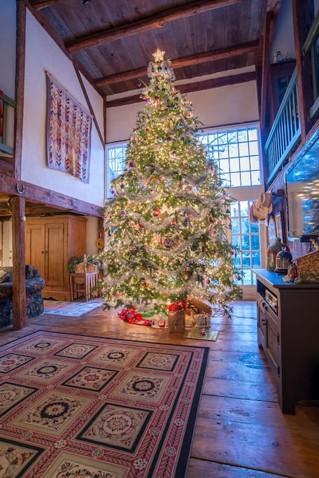 Usually at Christmas, we put up a 17 foot tree in the carriage house. Our guests staying here around the  holidays can  enjoy the magic this brings.  In December, we may limit max # of guests to 2 and max number of nights to 2 per week, but ask about limits when you reserve.