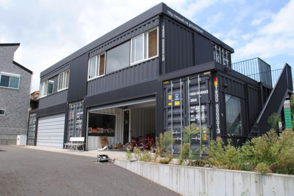 This house is made of improved shipping container.