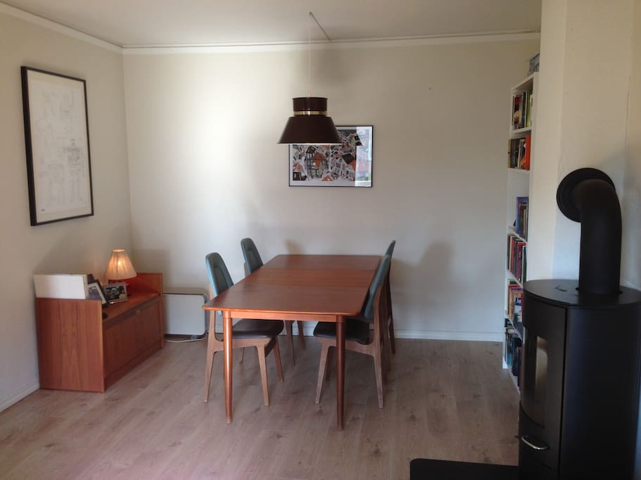 Dining table in the livingroom. We have more chairs available.