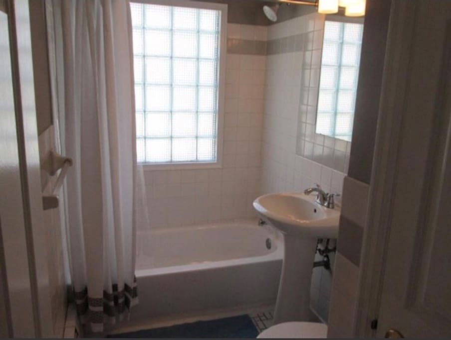 Bathroom on the first floor. Where you would be able to take a warm bath/shower.