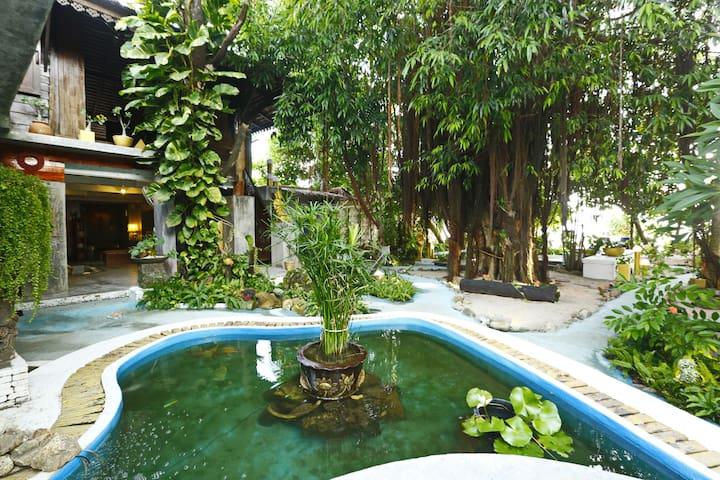 Beachfront Unit w/ Huge Garden & Swimming Pool