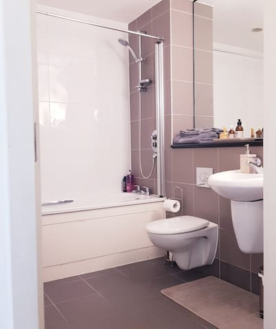 Spacious Bathroom with toiletries