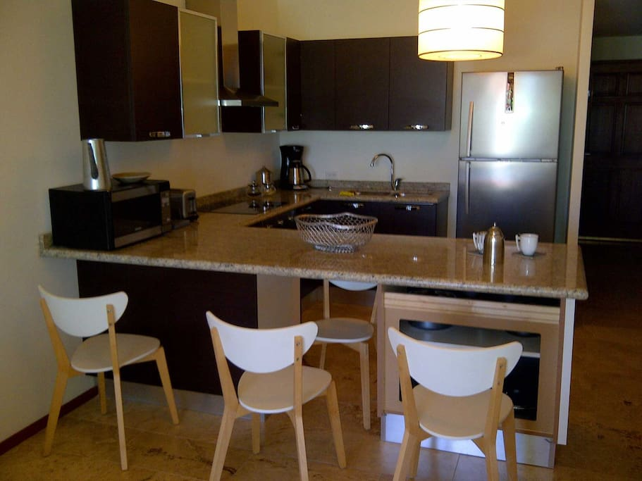 Full-size fully equipped modern kitchen with breakfast bar/table