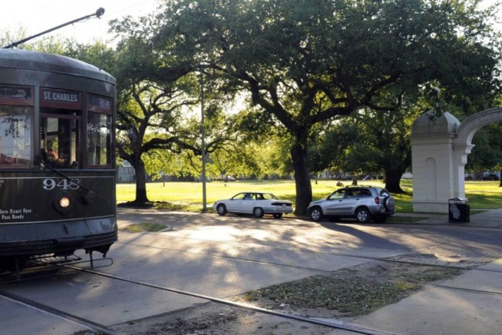 Street Car and Palmer Park across the Street
