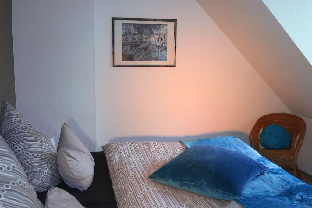 Schlafzimmer Gästewohnung Mönchengladbach, Apartment, Ferienwohnung, Flughafen, Messe, Düsseldorf, Köln, Borussia Mönchengladbach