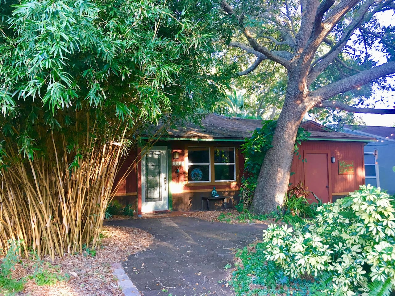 The streetscape at Wildwood Gardens.  Your room is behind the bamboo.