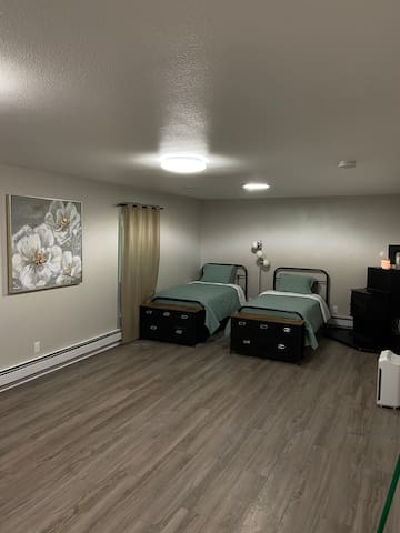 Extra sleeping space in downstairs family room.  Great for kids