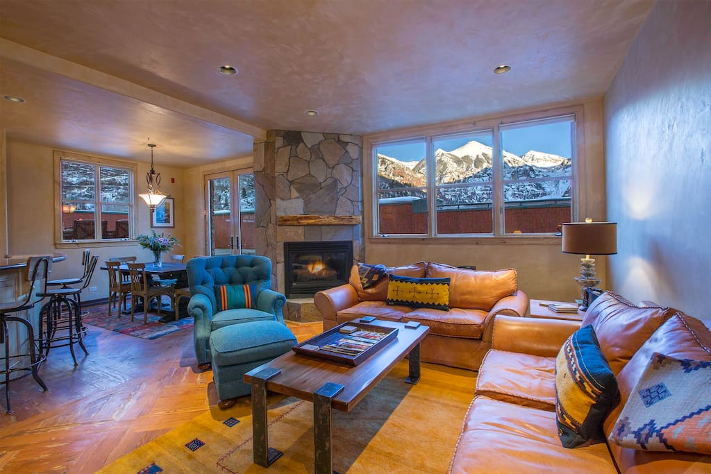 Large living area with dramatic views of Ajax Peak. The RoofTop is a truly remarkable vacation rental.