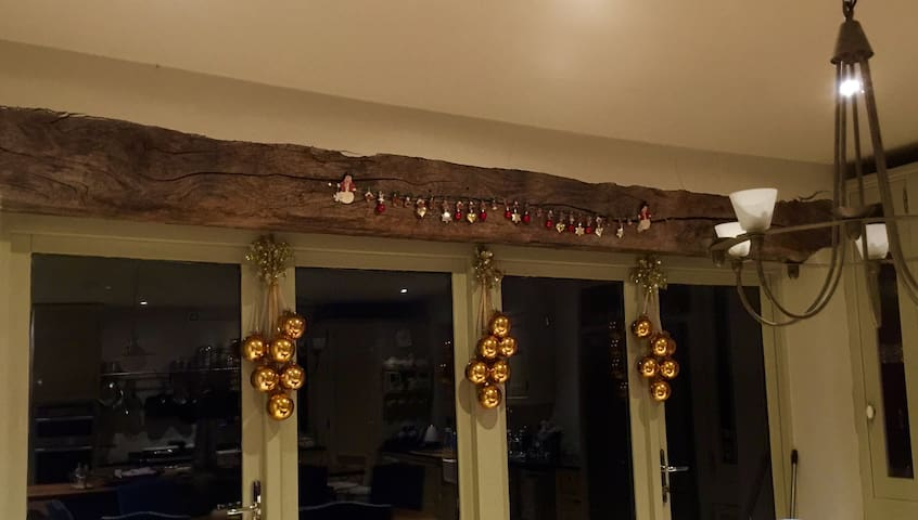 Christmas decorations in the kitchen