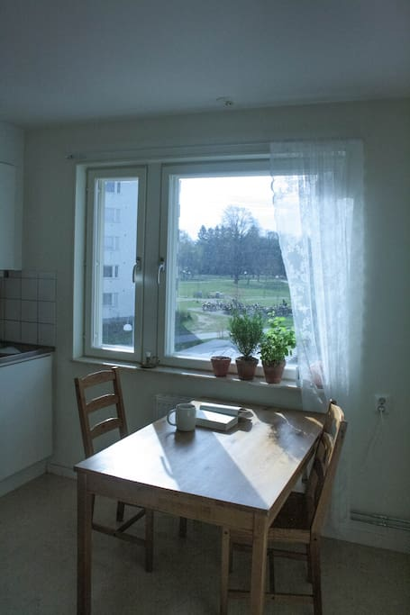 The kitchen has morning sun and a nice view of the park. There are three chairs but only two are visible in this photo
