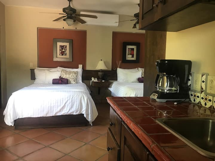 Posada Del Cortes-Suite two queen beds-upstairs-kitchenette-Balcony-Terrace.
