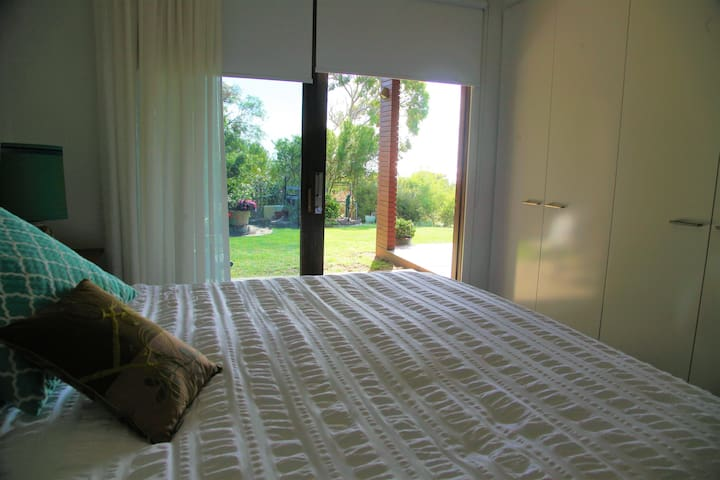 Whilst the king size bed is very comfortable, you may rest and enjoy the tranquil space just outside your door