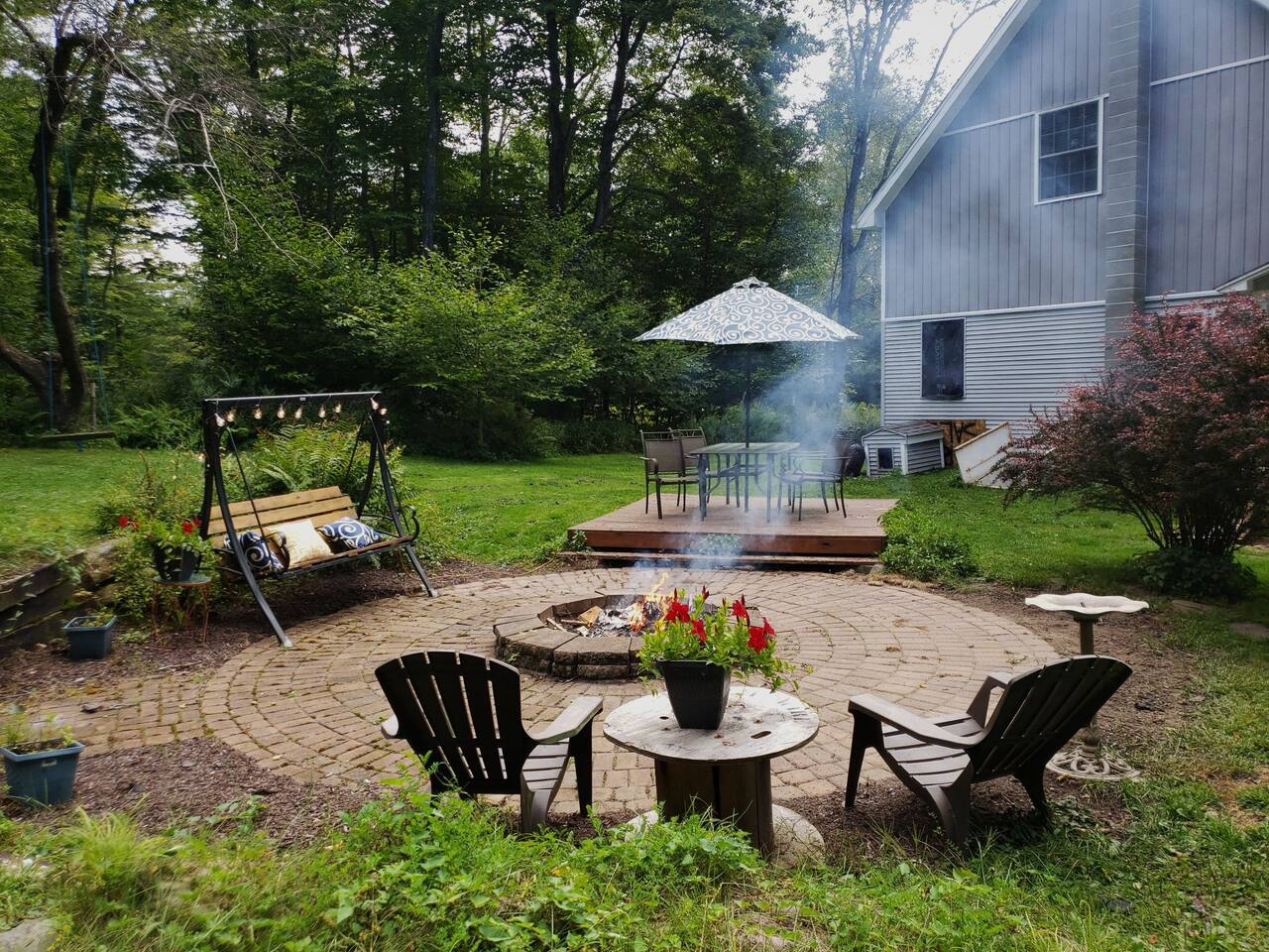 Large backyard with fire pit