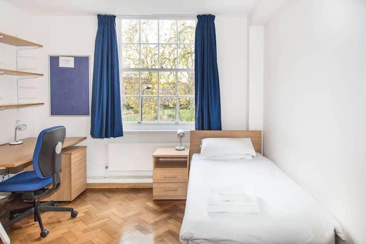 Single room private bathroom, university setting