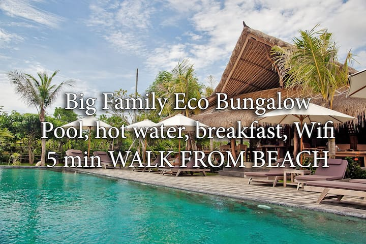 FAMILY BUNGALOW 6ppl, 5 min to beach, wifi, pool B - South Kuta - Bungalow