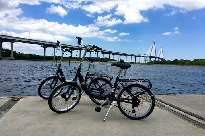 2 bikes are left at the dock & available on a first come first serve basis to ride around downtown Charleston.